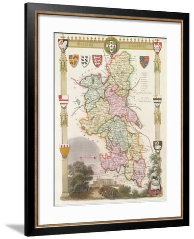 Buckinghamshire with Illustrations of Eton College Chapel--Framed Art Print