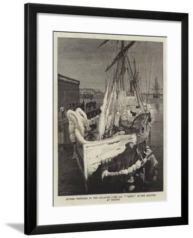 Severe Weather in the Atlantic, the Ss Pedro, as She Arrived at Boston--Framed Art Print