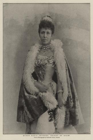 Queen Maria Cristina, Regent of Spain--Stretched Canvas Print