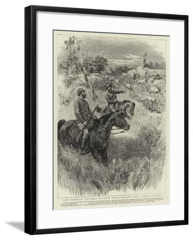 Lord Randolph Churchill in South Africa, Meeting with a Troop of Lions--Framed Art Print
