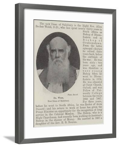 Dr Webb, New Dean of Salisbury--Framed Art Print