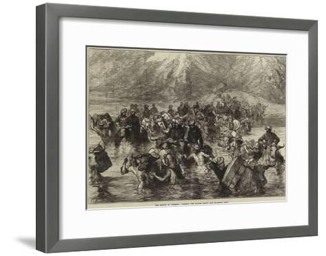The Mission to Yarkund, Crossing the Shayok Below the Khardung Pass--Framed Art Print