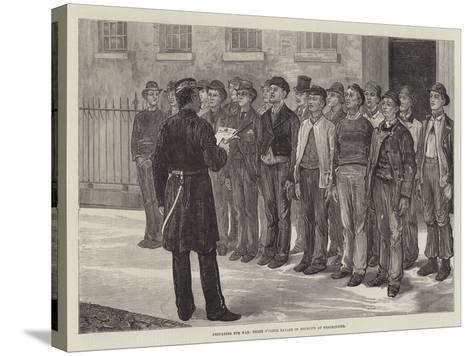 Preparing for War, Three O'Clock Parade of Recruits at Westminster--Stretched Canvas Print