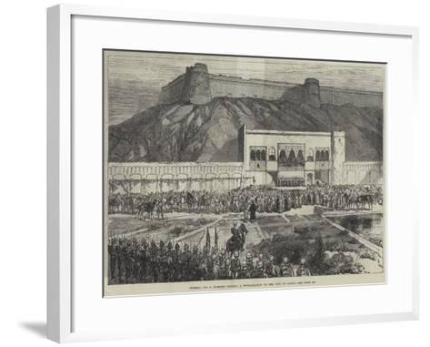 General Sir F Roberts Reading a Proclamation to the City of Cabul--Framed Art Print