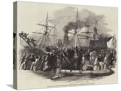 Reception of Kossuth, on Board the Madrid Steamer, at Southampton--Stretched Canvas Print