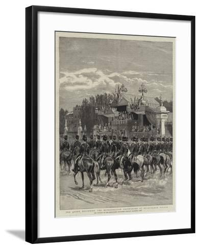 The Queen Reviewing the Metropolitan Volunteers at Buckingham Palace--Framed Art Print