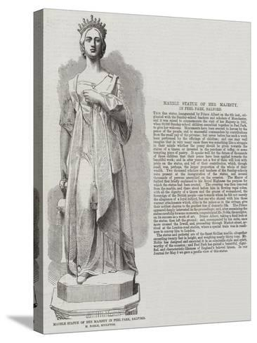Marble Statue of Her Majesty in Peel Park, Salford, M Noble, Sculptor--Stretched Canvas Print