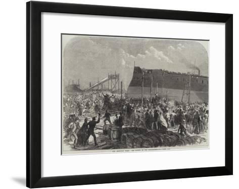 Our Iron-Clad Fleet, the Launch of the Northumberland, She's Off!--Framed Art Print