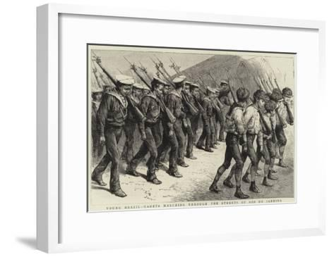 Young Brazil, Cadets Marching Through the Streets of Rio De Janeiro--Framed Art Print