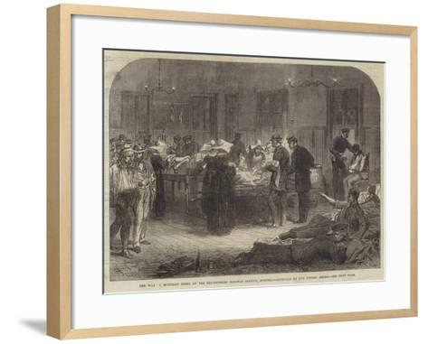 The War, a Midnight Scene at the Reichenberg Railway Station, Bohemia--Framed Art Print