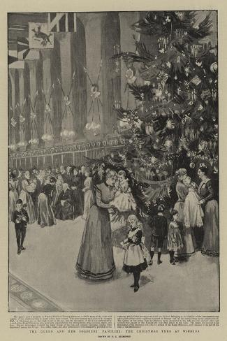 The Queen and Her Soldiers' Families, the Christmas Tree at Windsor--Stretched Canvas Print