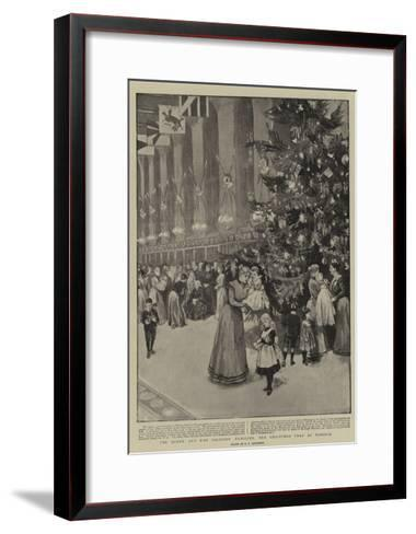 The Queen and Her Soldiers' Families, the Christmas Tree at Windsor--Framed Art Print