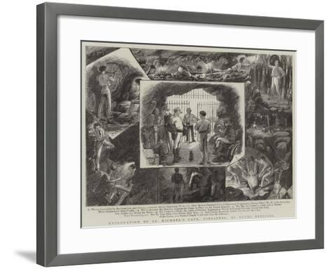 Exploration of St Michael's Cave, Gibraltar, by Naval Officers--Framed Art Print
