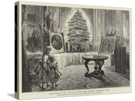 Christmas Eve at Windsor Castle, the Queen's Christmas Tree--Stretched Canvas Print