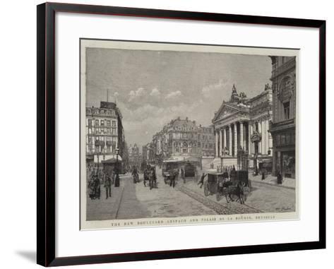 The New Boulevard Anspach and Palais De La Bourse, Brussels--Framed Art Print