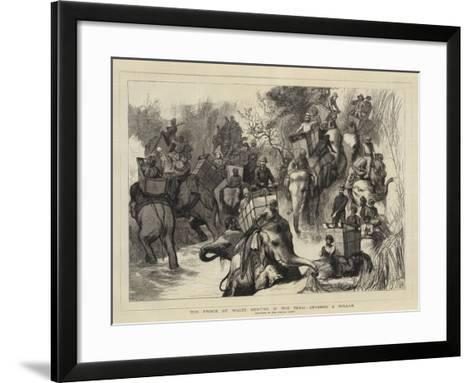 The Prince of Wales Hunting in the Terai, Crossing a Nullah--Framed Art Print