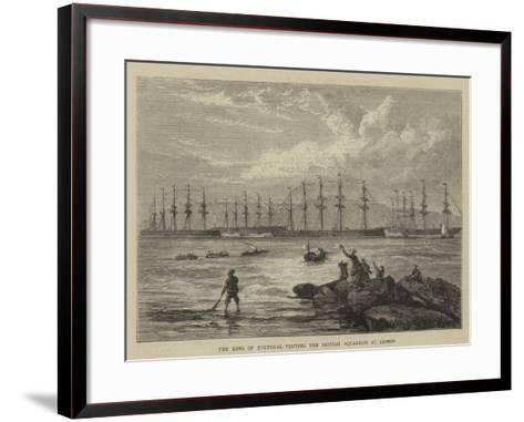 The King of Portugal Visiting the British Squadron at Lisbon--Framed Art Print