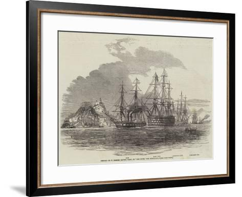 Admiral Sir W Parker Leaving Corfu, in The Howe, for Cephalonia--Framed Art Print