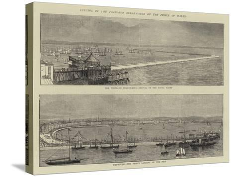 Opening of the Portland Breakwater by the Prince of Wales--Stretched Canvas Print