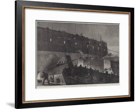 Launch of the Northumberland, Fixing the Camels at Night--Framed Art Print