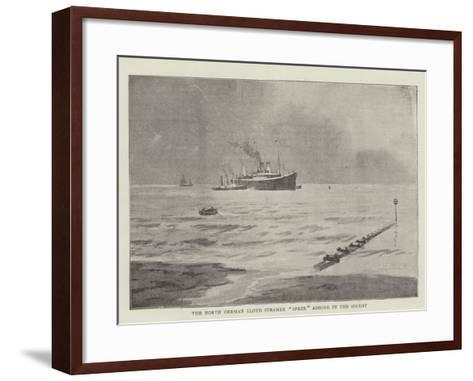 The North German Lloyd Steamer Spree Ashore in the Solent--Framed Art Print