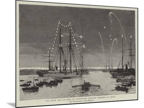 The Duke and Duchess of Connaught Leaving Colombo at Night--Mounted Giclee Print