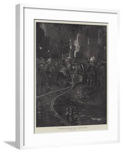 The Metropolitan Fire Brigade at Work, Connecting the Hose--Framed Art Print