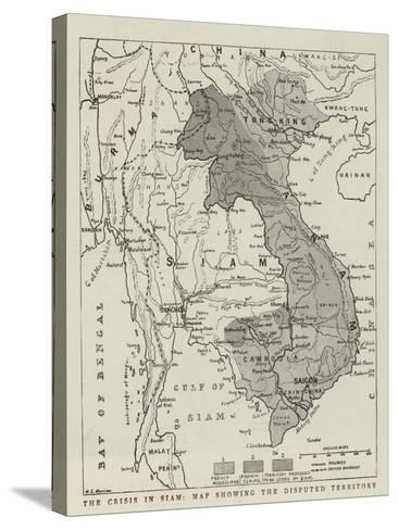 The Crisis in Siam, Map Showing the Disputed Territory--Stretched Canvas Print
