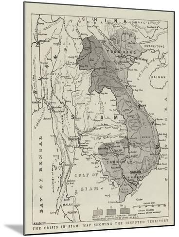 The Crisis in Siam, Map Showing the Disputed Territory--Mounted Giclee Print
