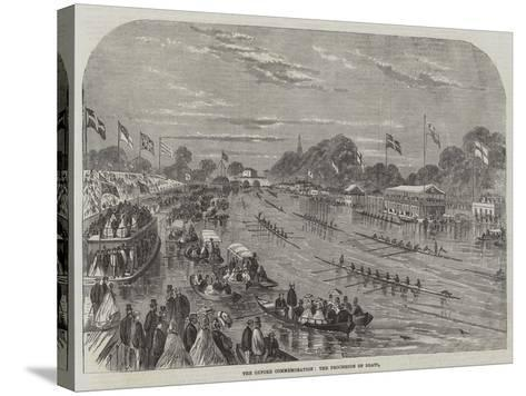The Oxford Commemoration, the Procession of Boats--Stretched Canvas Print