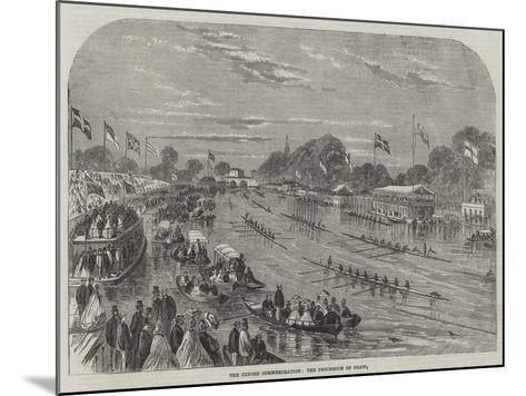 The Oxford Commemoration, the Procession of Boats--Mounted Giclee Print