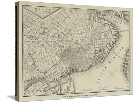 Plan of Boston, Showing the Extent of the Fire--Stretched Canvas Print