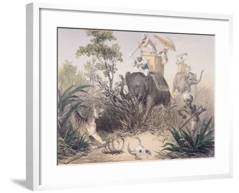 British Officers Tiger Shooting in India, 1860s--Framed Art Print