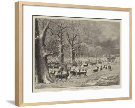 Out-Door Relief, Feeding Deer in Richmond Park--Framed Art Print