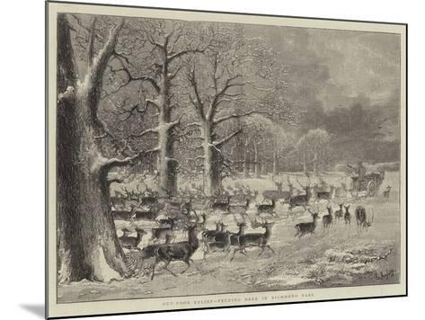 Out-Door Relief, Feeding Deer in Richmond Park--Mounted Giclee Print
