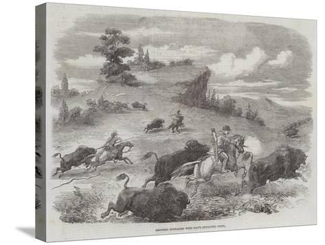 Shooting Buffaloes with Colt's Revolving Pistol--Stretched Canvas Print