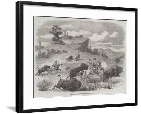 Shooting Buffaloes with Colt's Revolving Pistol--Framed Art Print