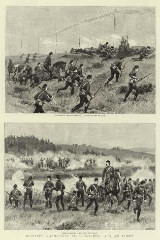 Military Manoeuvres at Aldershot, a Sham Fight--Stretched Canvas Print