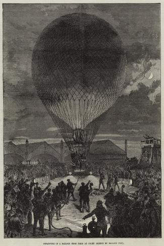 Departure of a Balloon from Paris at Night--Stretched Canvas Print