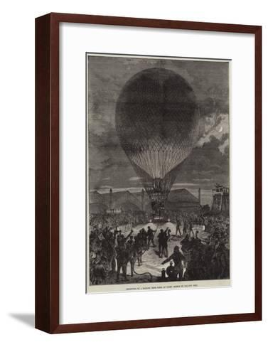 Departure of a Balloon from Paris at Night--Framed Art Print