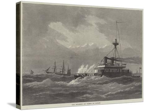 HMS Devastation and Valorous Off Portland--Stretched Canvas Print