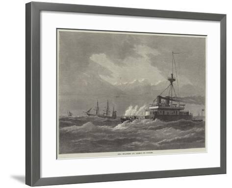 HMS Devastation and Valorous Off Portland--Framed Art Print