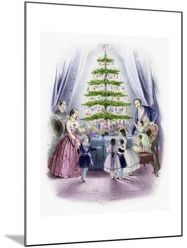 A Family Standing around a Christmas Tree--Mounted Giclee Print