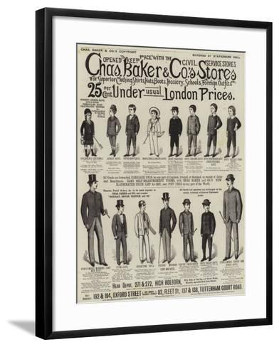 Advertisement, Charles Baker and Co's Stores--Framed Art Print