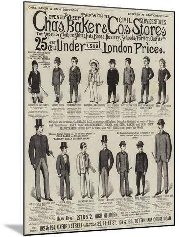 Advertisement, Charles Baker and Co's Stores--Mounted Giclee Print