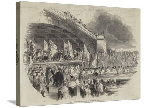 The Lord Mayor Embarking at Southwark Bridge--Stretched Canvas Print