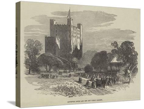 Rochester Castle and the New Public Gardens--Stretched Canvas Print