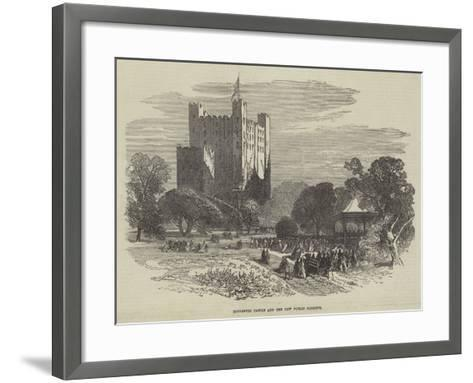 Rochester Castle and the New Public Gardens--Framed Art Print