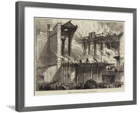 Burning of the Free Library at Birmingham--Framed Art Print