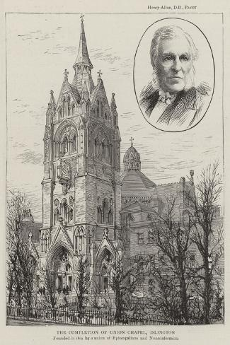 The Completion of Union Chapel, Islington--Stretched Canvas Print